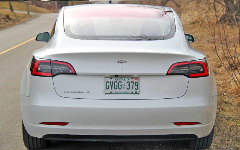 Model 3 badge chrome rear
