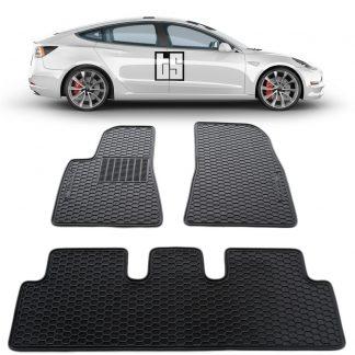 3 Pc Set Tesloid Premium Heavy Duty Floor Mats for Tesla Model 3